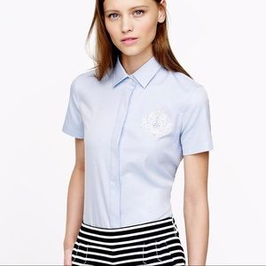 J. Crew White Label Collection Beaded Crest Shirt